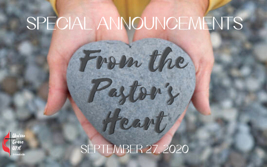 Special Announcements for Sept 27 2020